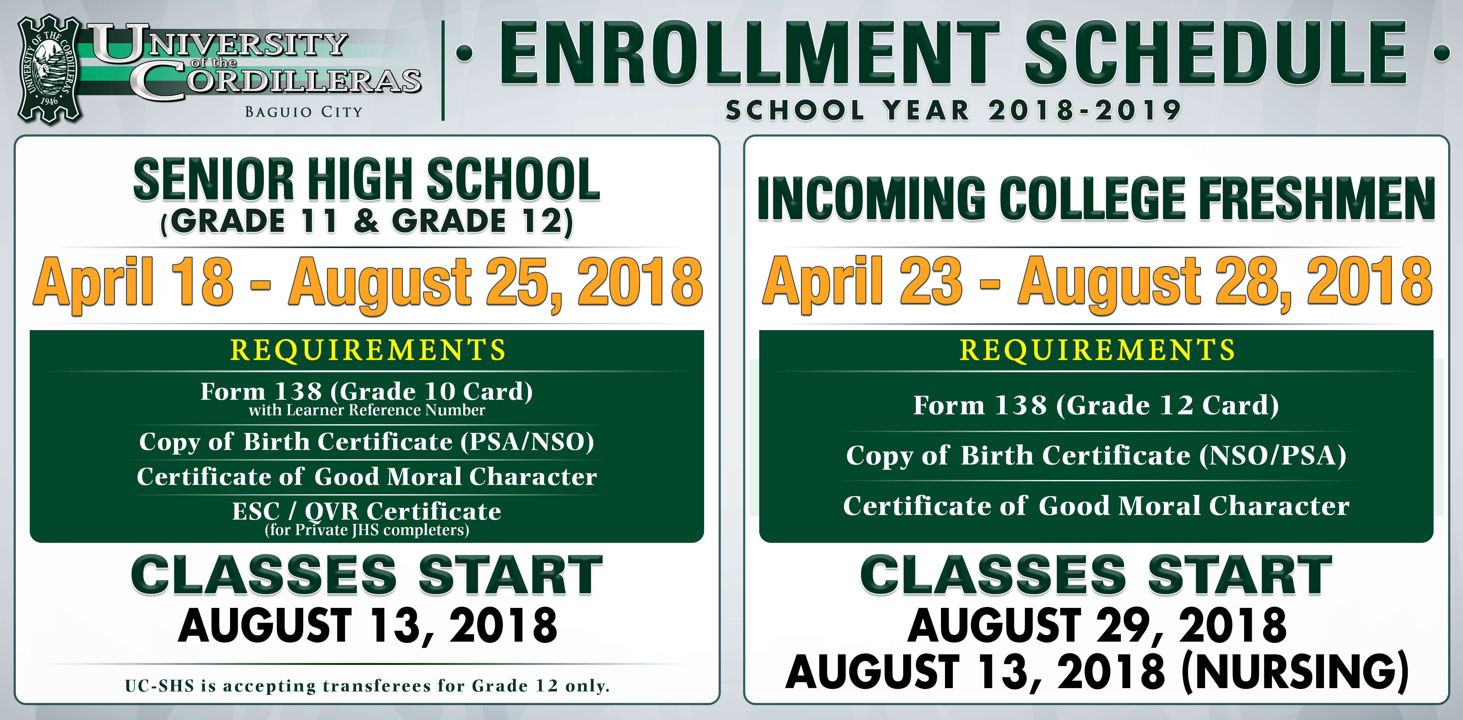 Enrollment schedule sy 2018 2019 ver 1