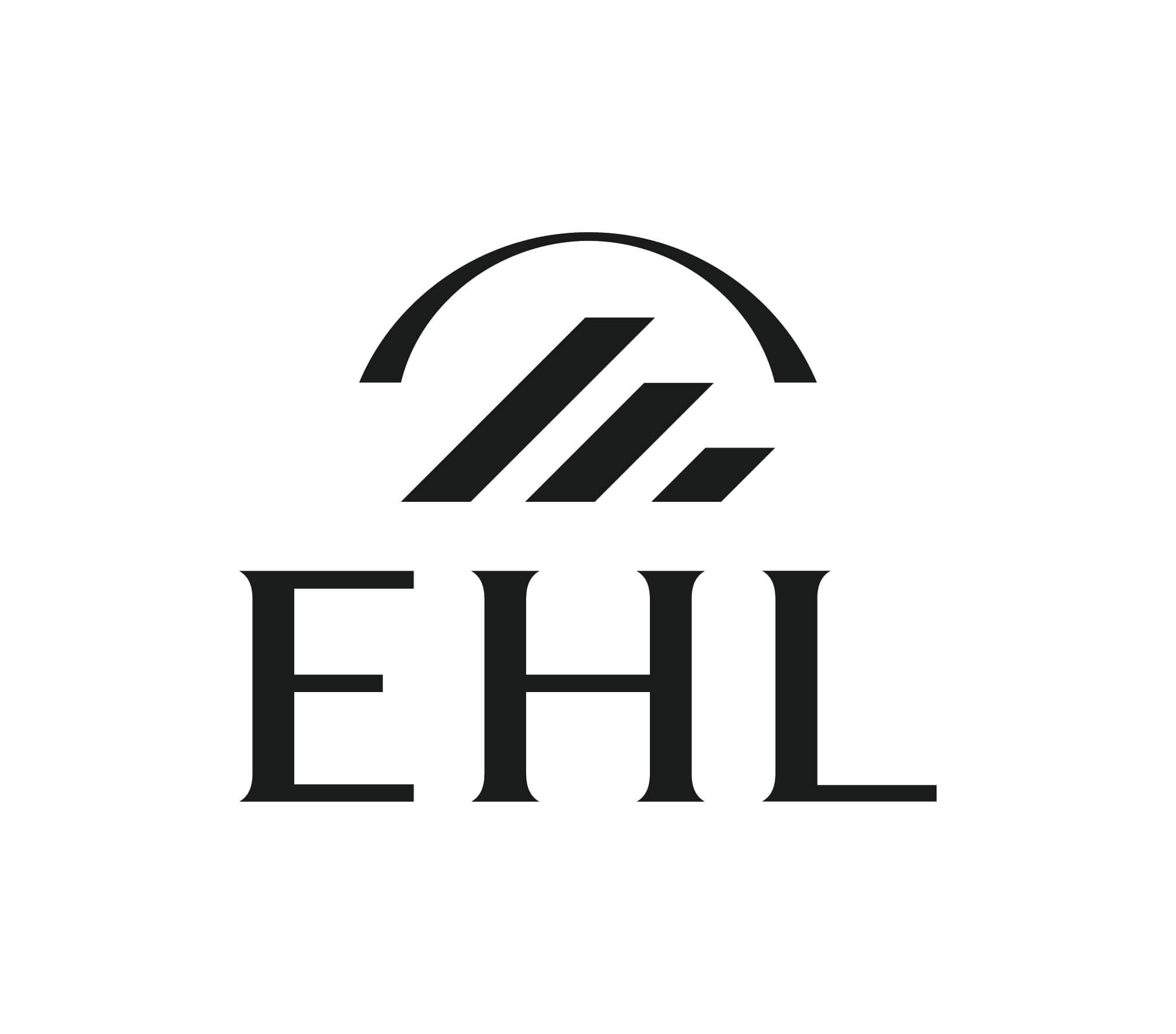 Ehl logo simple stacked cmyk print black